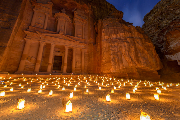 Petra by Night in Jordan.