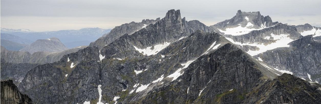 Mountain tops in Kvaløya, Tromsø, Norway